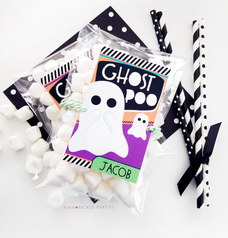 Ghost Poop labels Halloween Tags Halloween Birthday Favor image 0