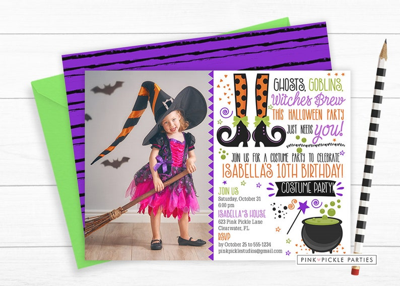 Witch Invitation Photo invite Witch Party Witch Birthday image 0