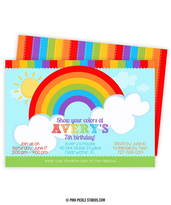 Rainbow Invitation Party Birthday