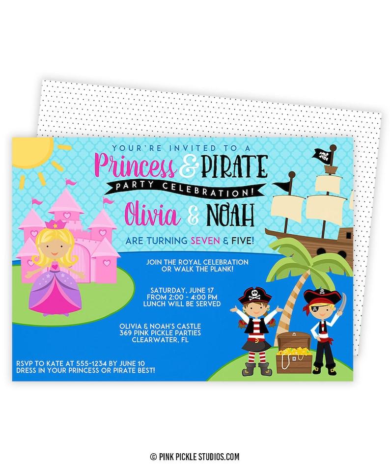 Princess And Pirate Invitation Party Invite Birthday 369