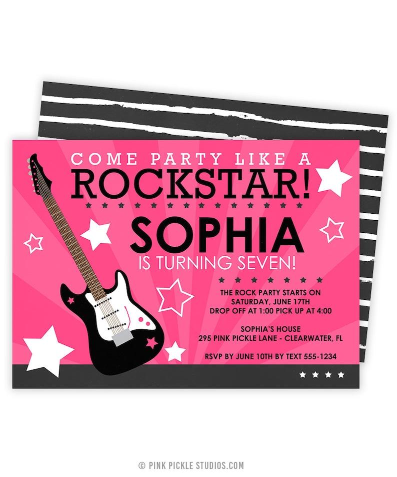 Rockstar Invitation Rockstar Party Rock Star Invitation Etsy