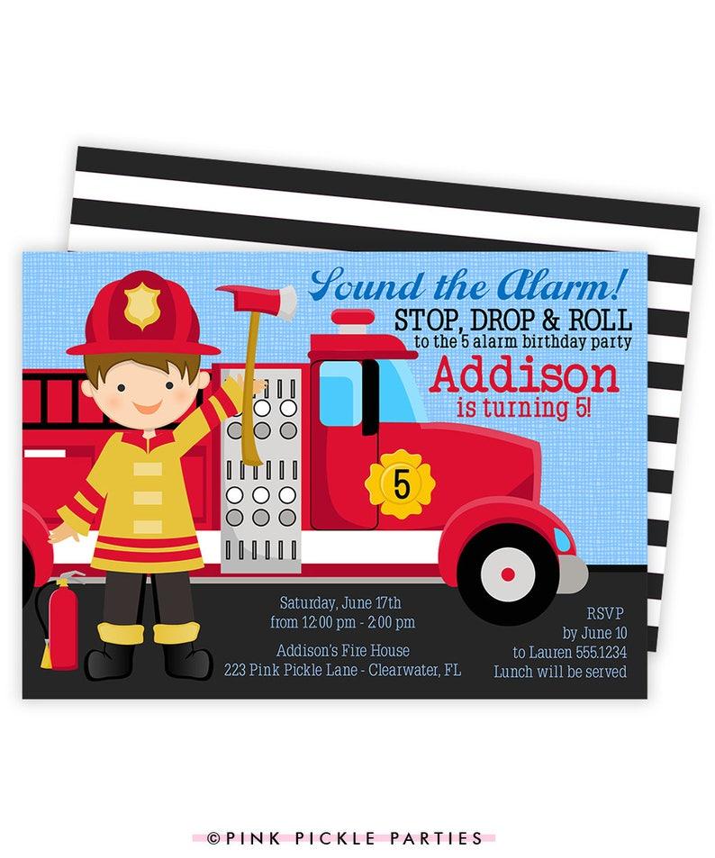 Fireman Invitation Fireman Birthday Invitation Fire image 0