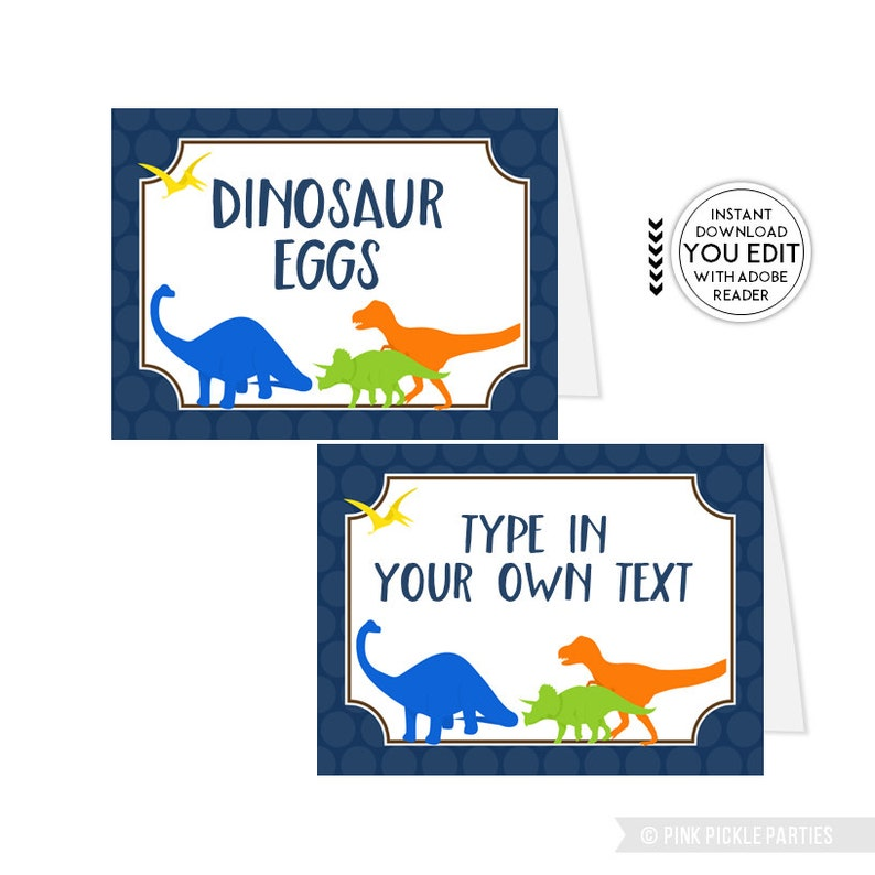 Dinosaur Tent Cards Buffet labels Buffet Signs Food Tent image 0