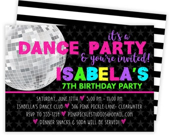 Dance Invitation, Dance Party, Dance Birthday, Dance Invitations, Dance Party Invites, Dance Invites, Dance Birthday Party  | 506