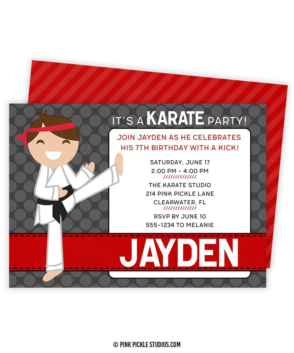 Karate Invitation Karate Birthday Party Karate Birthday   Etsy
