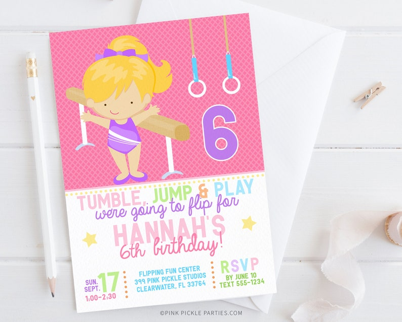 Gymnastics Invitation Gymnastics Birthday Invitation image 0
