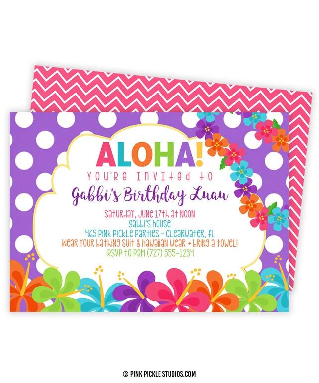 Luau Invitation Hawaiian Invitations Luau Birthday Etsy