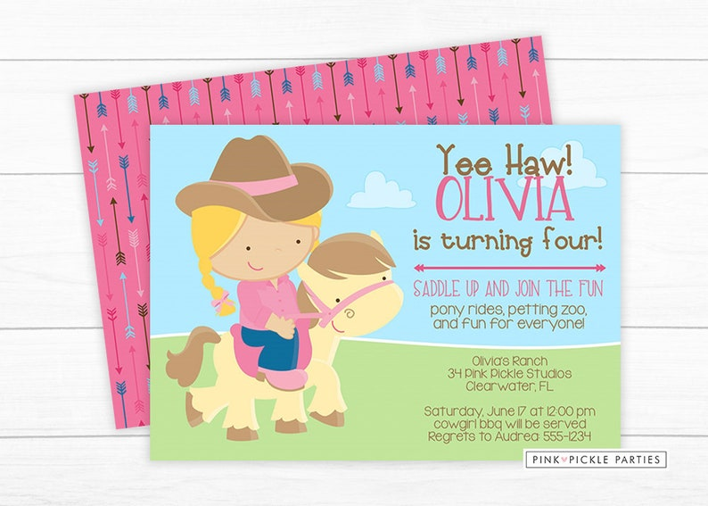 Pony Birthday Invitation Invite Party Ride