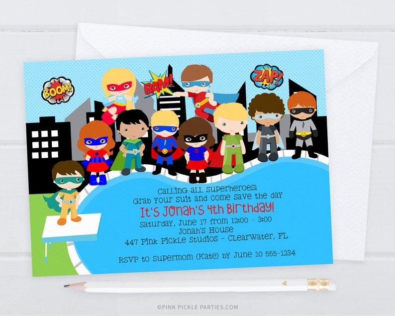 Superhero Pool Party Superhero Invitation Superhero Party image 0
