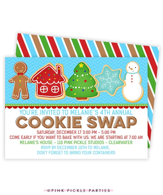 Christmas Cookie Exchange Invitations Christmas Cookie Etsy