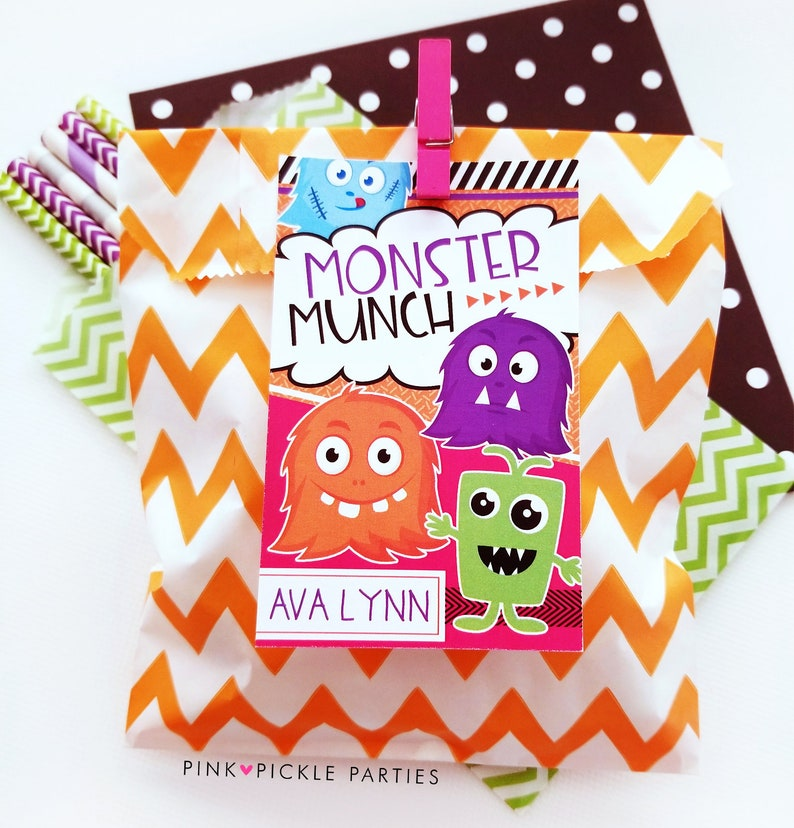 Monster Munch Favor Tags Halloween Favor Gift Tags for Kids image 0