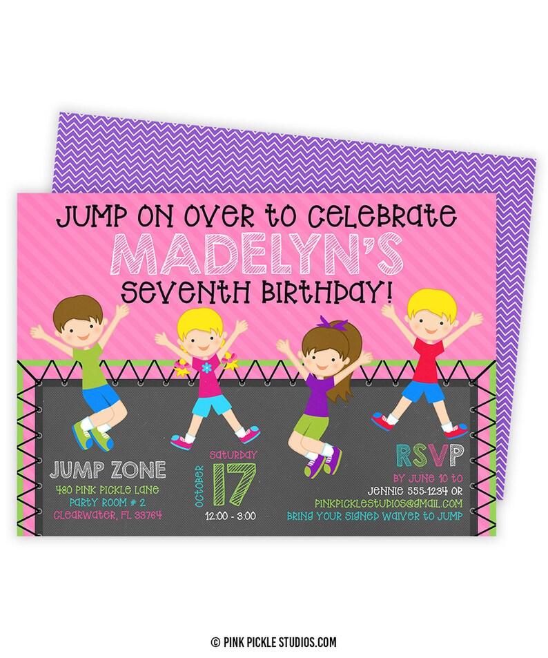 Trampoline Invitation Trampoline Party Invitation Trampoline image 0