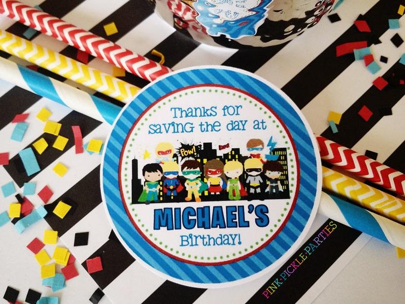 Superhero Favor Tags Superhero Party Superhero Birthday image 0