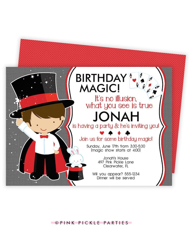 Magician Party x 5 Personalised Birthday Invitations Magic