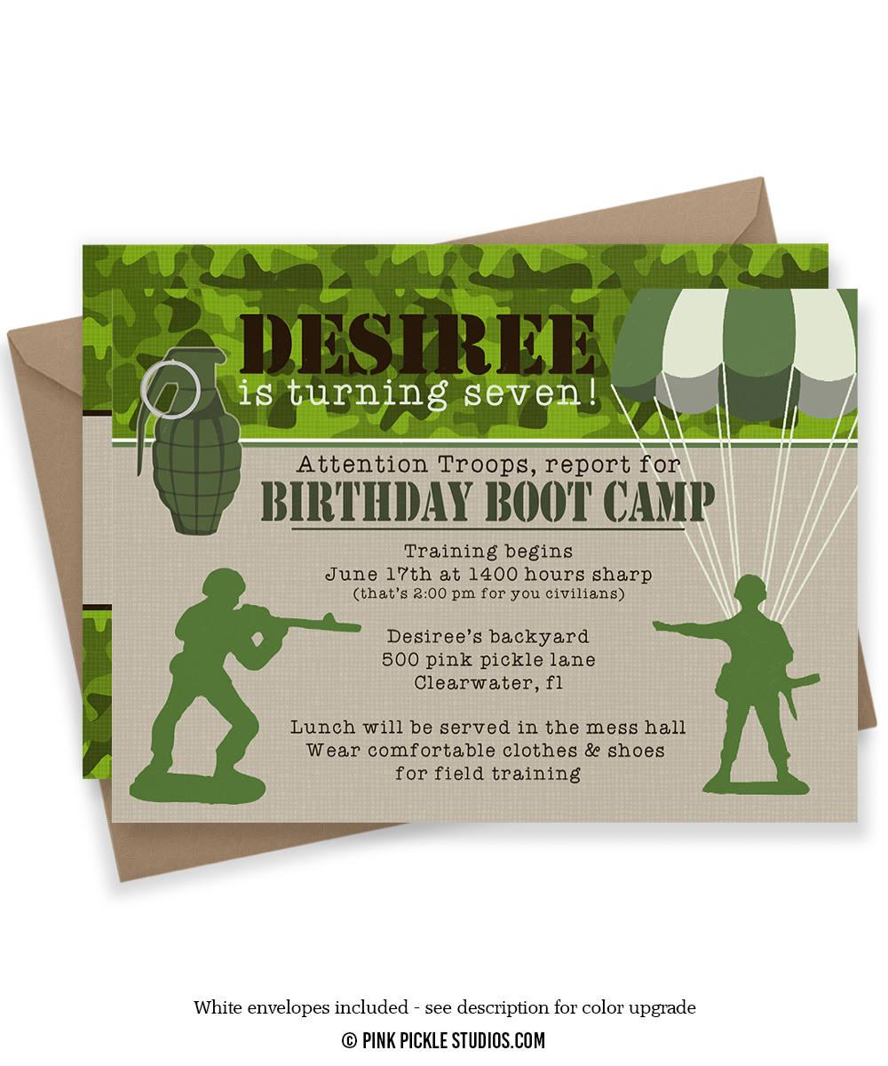 Boot Camp Invitation Army Invitations Military Invitations