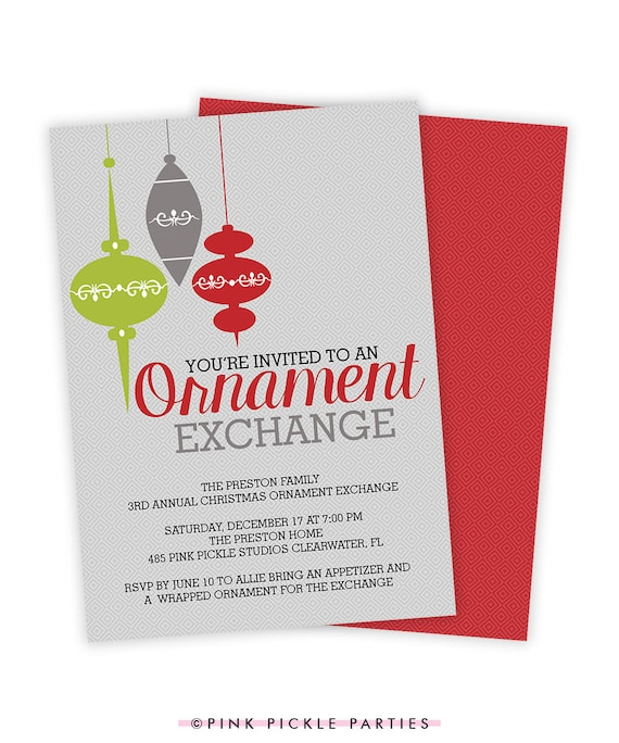 ornament exchange invitation ornament invite ornament swap etsy