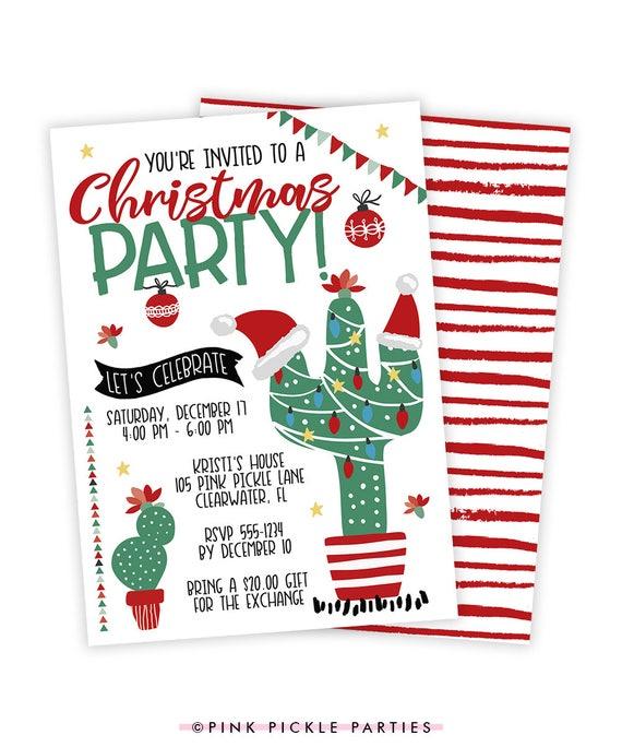 Christmas Cactus Invitation Christmas Party Invitation Etsy