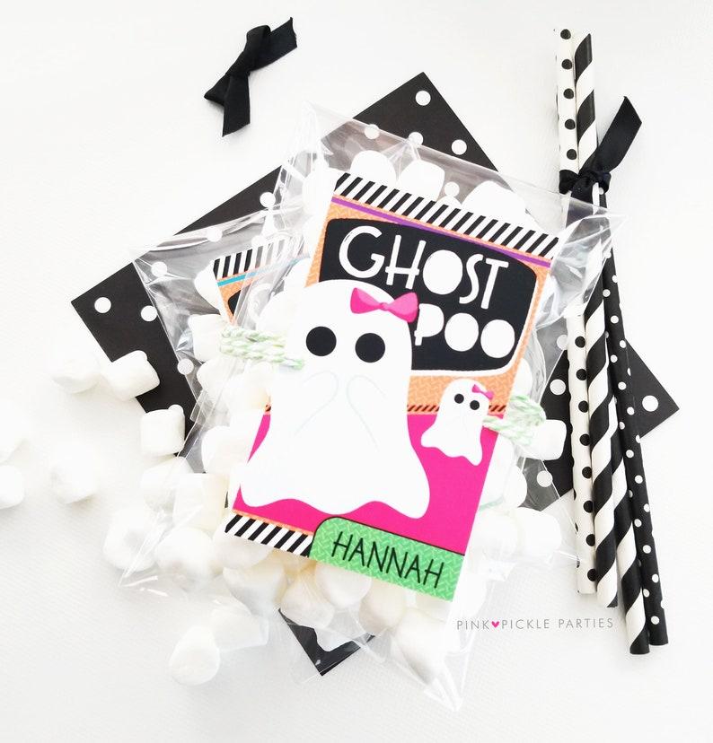 Ghost Poop labels Halloween Tags Halloween Birthday Favor image 0