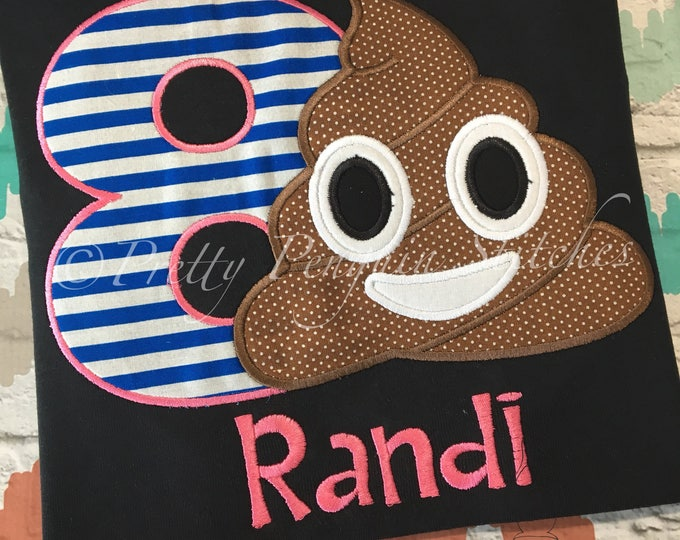 Poop Emoji Birthday Shirt, PINK & BLUE, Chocolate Pudding, Poop Birthday Shirt, Emoji Birthday Shirt, Applique, Personalized