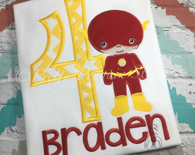 Flash Cutie-inspired Birthday Shirt-Hero Birthday- Comic Book Birthday- Personalized Shirt- lightining- superhero- EMBROIDERED
