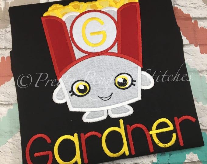 Poppy Corn Cutie Shirt- Shopping Birthday- Popcorn Party- boys Shopkins-Inspired- Shop Till You Drop- Applique- Embroidered