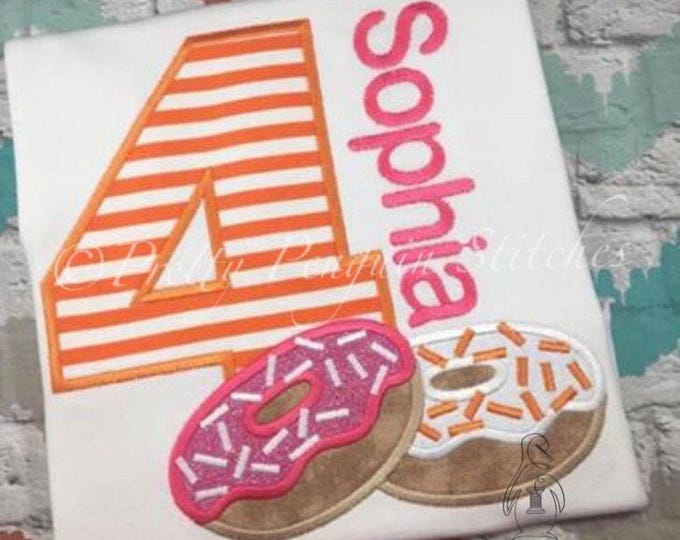 Donut Birthday Shirt- Dunkin Donuts-Inspired Birthday Shirt- Breakfast themed- Applique- Embroidered