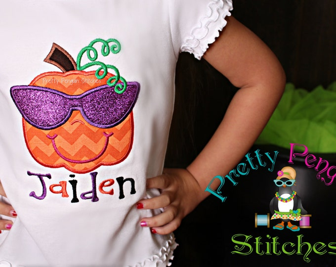Miss Cool Pumpkin Shirt- Halloween- Fall- Thanksgiving, October, November, Personalized, Embroidered