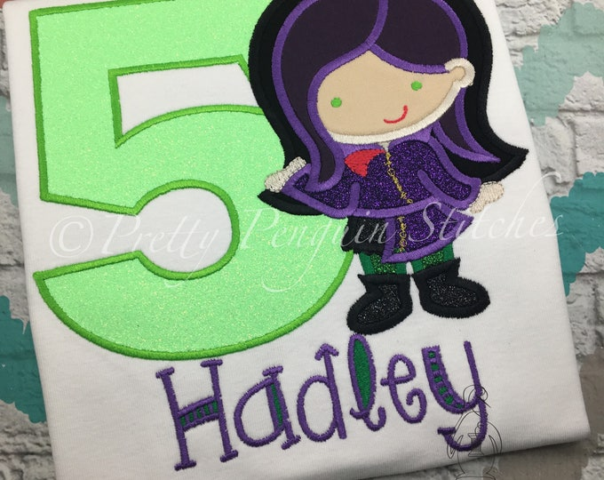 Mal Inspired Cutie Birthday Shirt- Personalized shirt- Family Vacation Shirt- Descendants- Embroidered- Monogrammed