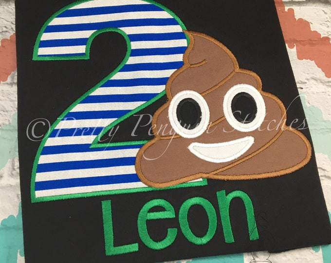 Poop Emoji Birthday Shirt, GREEN & BLUE, Chocolate Pudding, Poop Birthday Shirt, Emoji Birthday Shirt, Applique, Personalized