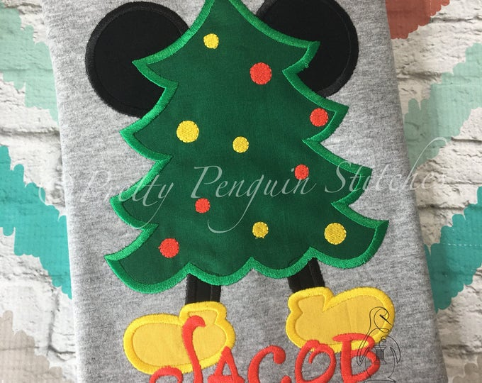 Mouse Christmas Tree, Mickey-Inspired Christmas Tree, Very Mickey Christmas, Family Vacation, Appliqued