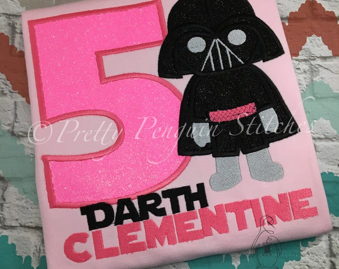 Dark Side Birthday Shirt- pink- Darth Vader-Inspired Birthday Shirt- Star Wars themed- Family Vacation- Applique- Embroidered