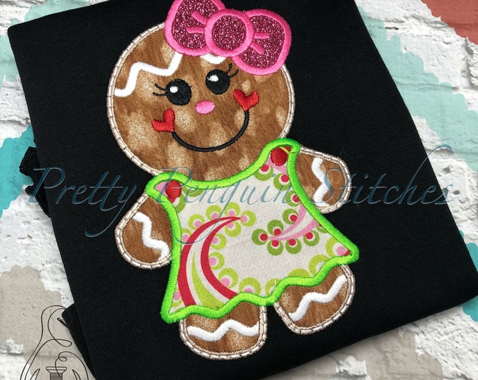 Paisley Gingerbread girl Shirt - Appliqued Christmas Shirt - Christmas Shirt