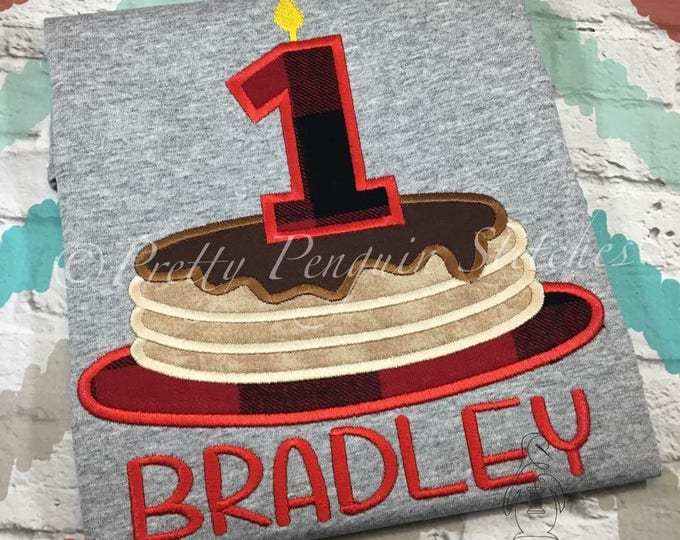 Pancake Birthday Shirt- Breakfast themed- Applique- Embroidered