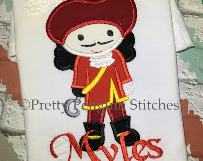 Captain Hook Cutie Shirt- Peter Pan Birthday Shirt- Family Vacation Shirt- Pirate- Embroidered- Applique- Kids