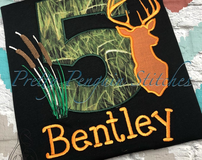 Deer Hunting Birthday Shirt- Cat tails- Hunting Birthday Party- buck head Embroidered- Applique- Personalized- Custom