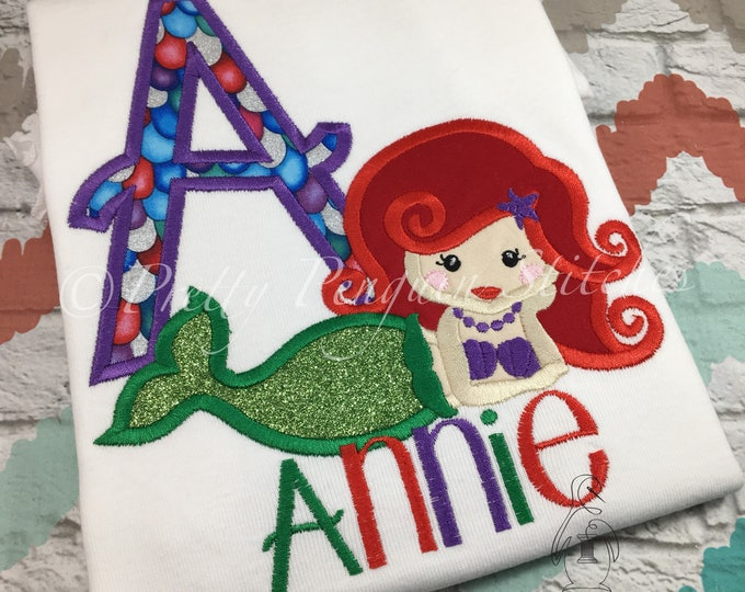 Mermaid Personalized shirt, Mermaid Birthday Shirt, Ariel-Inspired, Family Vacation Shirt, Princess, Embroidered, Monogrammed