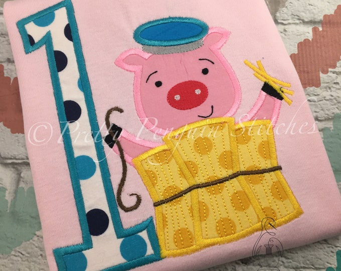 Three little Pigs-Inspired Birthday Shirt- house of straw- storybook Birthday- big bad wolf- Personalized shirt- Embroidered- Monogram