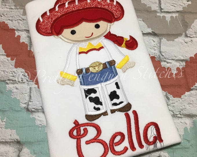 Jessie-inspired shirt- cowgirl, sherriff woody, cowboy toy- Family Vacation- applique shirt, toy story inspired
