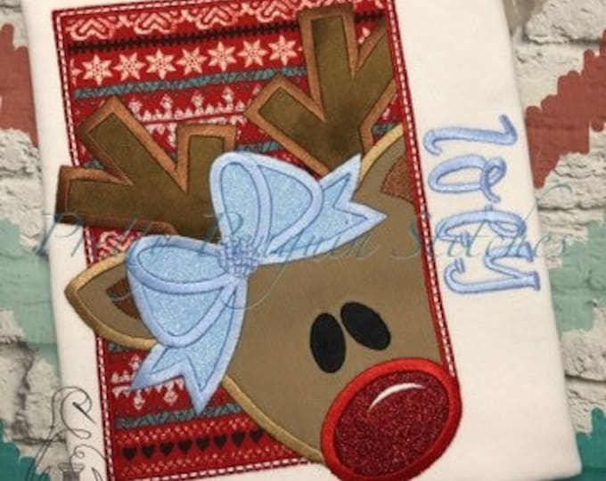 Peeking Reindeer with bow holiday Shirt - Appliqued Christmas Shirt - Christmas Shirt