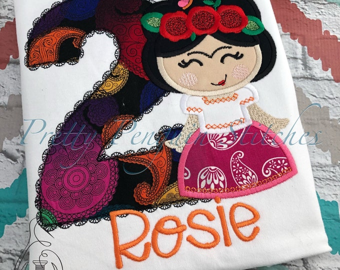 Frida  Cutie Birthday Shirt- coco Family Vacation Shirt- Applique- Embroidered- Monogrammed