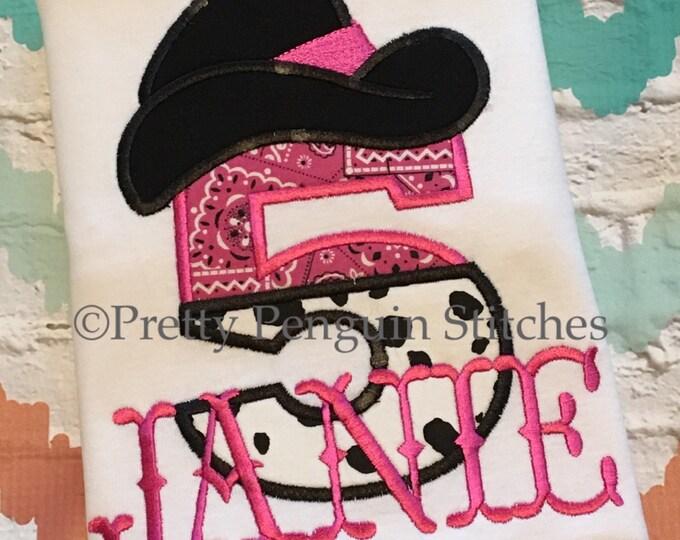Cowgirl Birthday Shirt PINK- Bandanna- Country Girl- Western Girl- Horse- Farm Girl- Applique- Embroidered- Custom Birthday Shirt