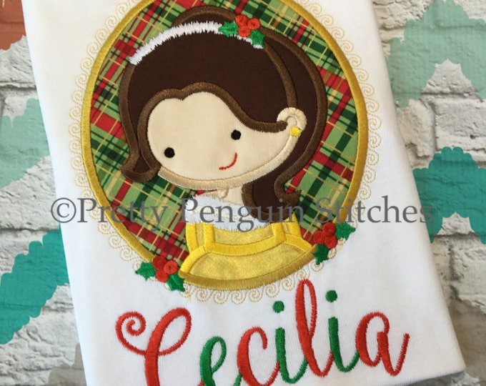 Christmas Princess Cameo Shirt, Belle-Inspired Cutie, Holiday Princess Shirt, Personalized