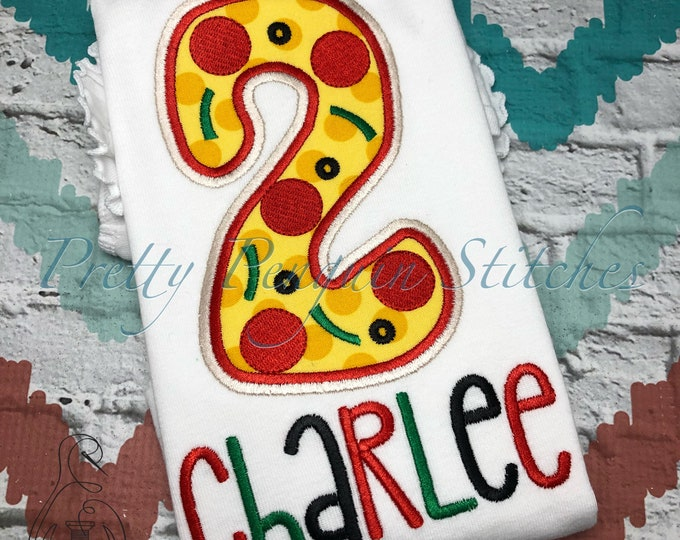 Pizza Party Birthday Shirt- Applique- Embroidered- Monogrammed