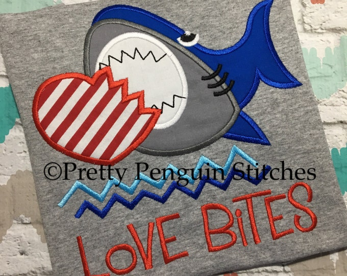 Love Bites Valentines Shirt- Shark Shirt- boys Valentines shirt - kids Valentines Day Shirt- Embroidered- Monogrammed