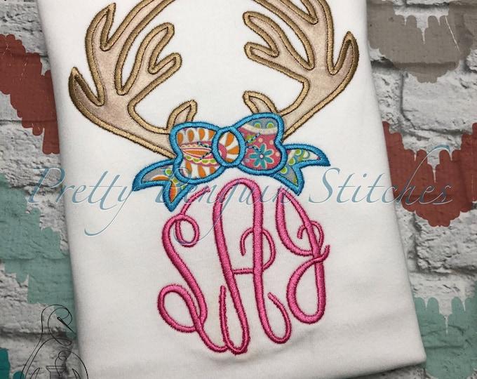 Antlers with Bow Monogram Kids Shirt, Hunting Season, Reindeer, Daddy Hunting Buddy, Deer Season, Applique, Personalized