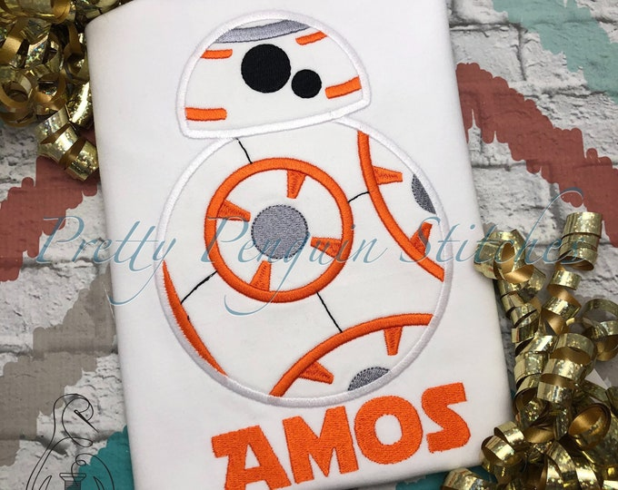 Droid Birthday Shirt- BB8-Inspired Birthday Shirt- Star Wars themed- Family Vacation- Applique- Embroidered