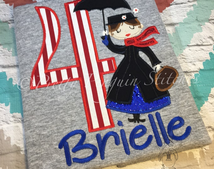Mary Poppins Cutie Birthday Shirt- Nanny- Spoon full of sugar- 1900 park fare- Family Vacation Shirt- Applique- Embroidered- Monogrammed