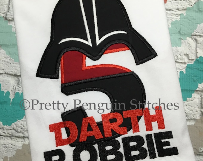 Dark Side Birthday Shirt- Darth Vader-Inspired Birthday Shirt- Star Wars themed- Family Vacation- Applique- Embroidered
