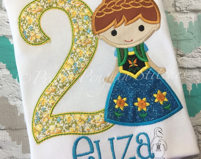Princess Anna Cutie Birthday Shirt- Frozen Fever-Inspired- Spring Princess- Family Vacation Shirt- Applique- Embroidered- Monogrammed