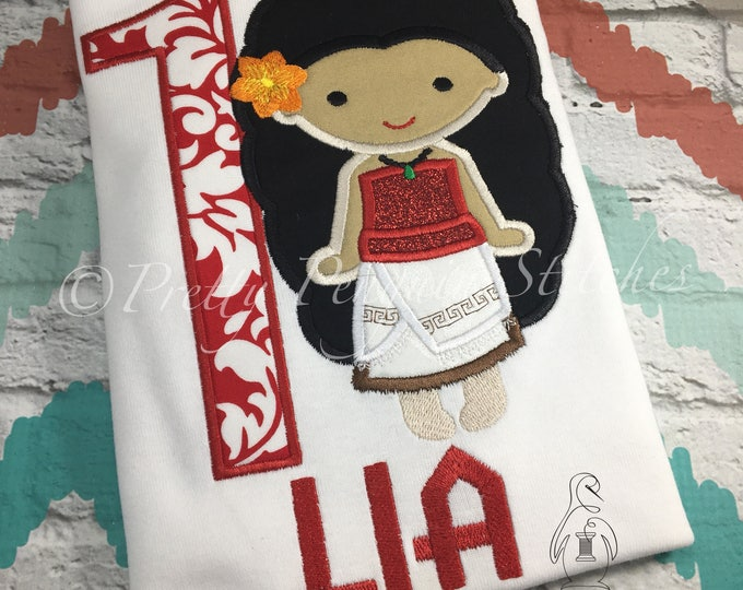 Princess Moana-Cutie shirt- Polynesian Princess- Birthday Shirt- Embroidered- Applique- Monogrammed